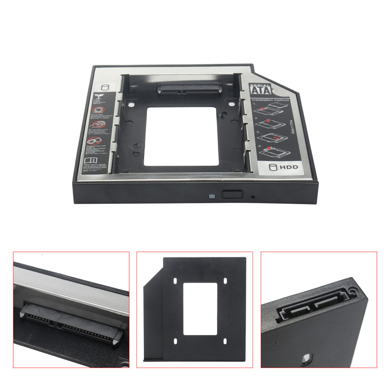 Aluminum 2.5 2nd HDD Enclosure SSD Hard Drive Case Caddy Adapter Bay For IBM/Lenovo Thinkpad T430 T430i W530 T530 T530i