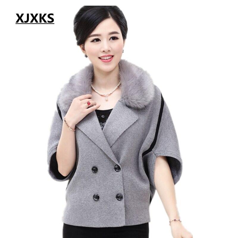 XJXKS New 2017 autumn and winter cape coat poncho wool cardigan jacket collar middle-aged ladies coat bat fashion woolen coat
