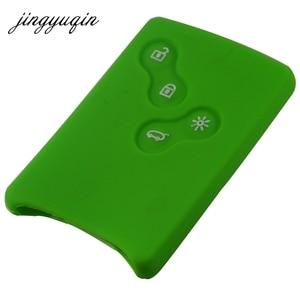 Image 4 - Funda protectora jingyuqin de 4 botones de silicona para llave de coche para Renault Clio Logan Megane 2 3 Koleos Scenic Card llavero