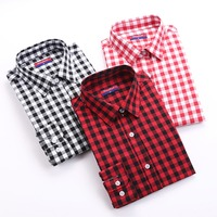 Brand New 2015 Fashion Women Blouses Long Sleeve Turn Down Collar Plaid Shirts Casual Cotton Shirt