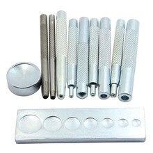 11 unids Craft Tool Die Punch Snap Rivet Setter Set Kit de Base para DIY cuero remache herramienta de perforación de cuero taladradora botones de Set