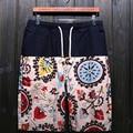 HanHent Men's national style linen shorts men summer influx of male stitching five pants beach shorts SH0048