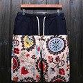 HanHent estilo nacional de Los Hombres pantalones cortos de lino hombres de afluencia del verano de hombre costura de cinco pantalones de cortocircuitos de la playa SH0048