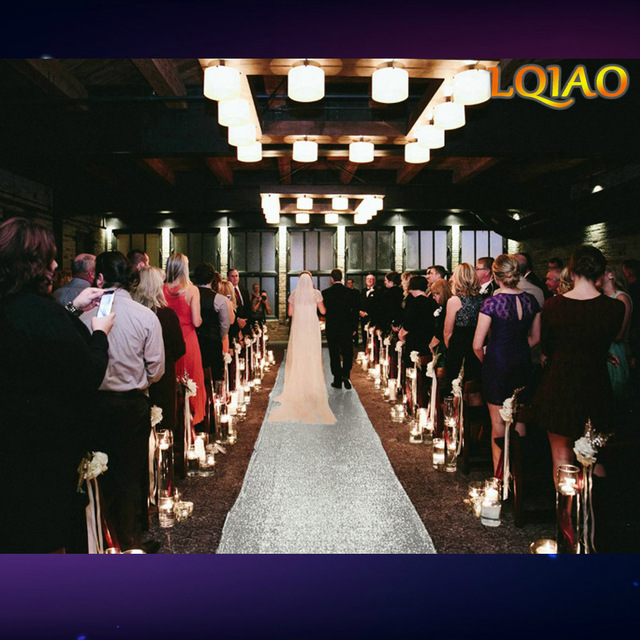 2018 New 4FTx25FT Silver/White Wedding Aisle VIP Carpet Runner For Church Stage Hall Wedding Decoration Carpet Aisle Runner Mats