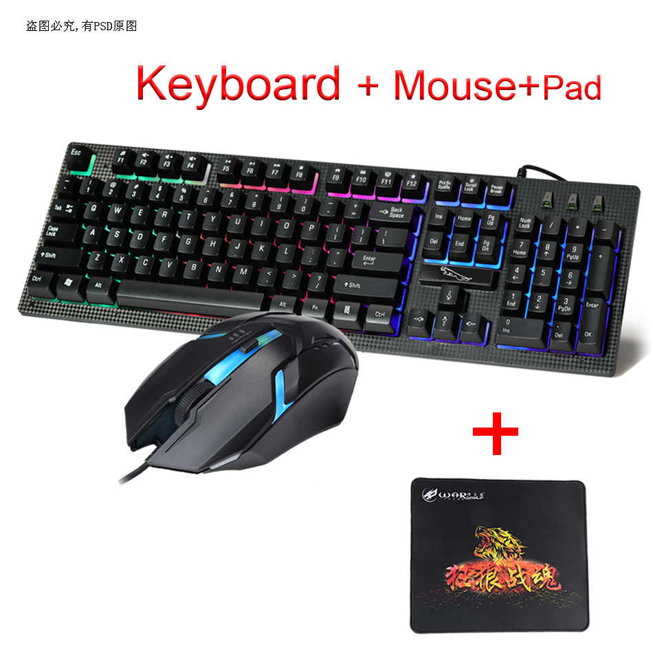 57d5528f19b Wired USB PC Gamer Keyboard And Mouse Set Laptop Computer Backlight 104 Keys  Keyboard Mouse Combo