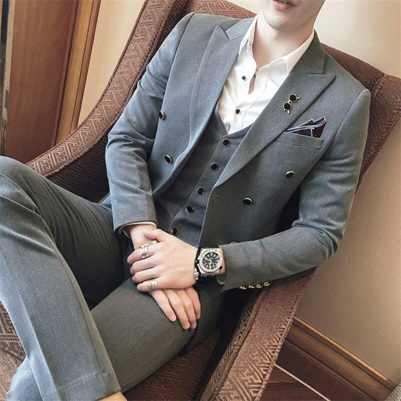 3 шт. костюм Для мужчин корейский Slim Fit двойной грудью жениха Свадебные Для мужчин костюмы Брендовая Дизайнерская обувь Бизнес Повседневная