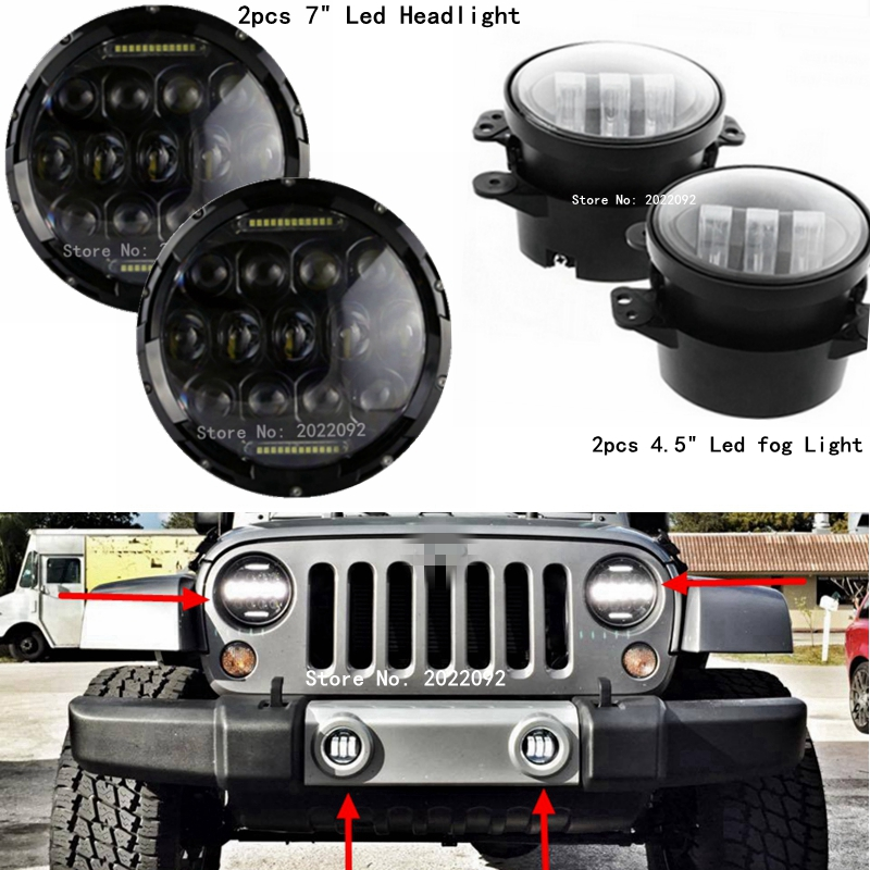 Manufacturer DOT E-mark LED Fog Lights 4 Inch Fog Lamp + 7INCH 75W H4 H/L LED Headlight with DRL Light