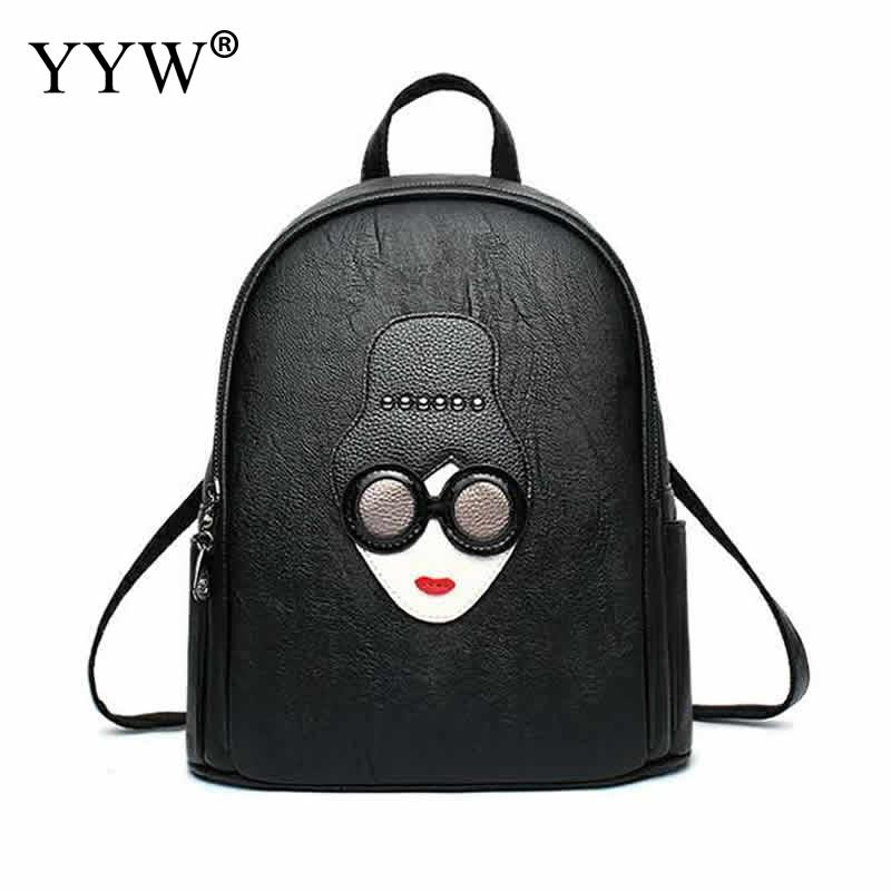 Fashion Black PU Leather Backpack Female Mini Backpacks for Women and Adolescent Girls 2018 New Catton Travel School Bag adolescent
