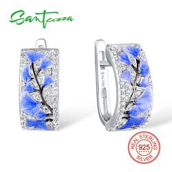 SANTUZZA, серебряные серьги для женщин, чистый 925 пробы, Серебряный Синий цветок, сверкающий кубический цирконий, ювелирные изделия, ручная рабо...