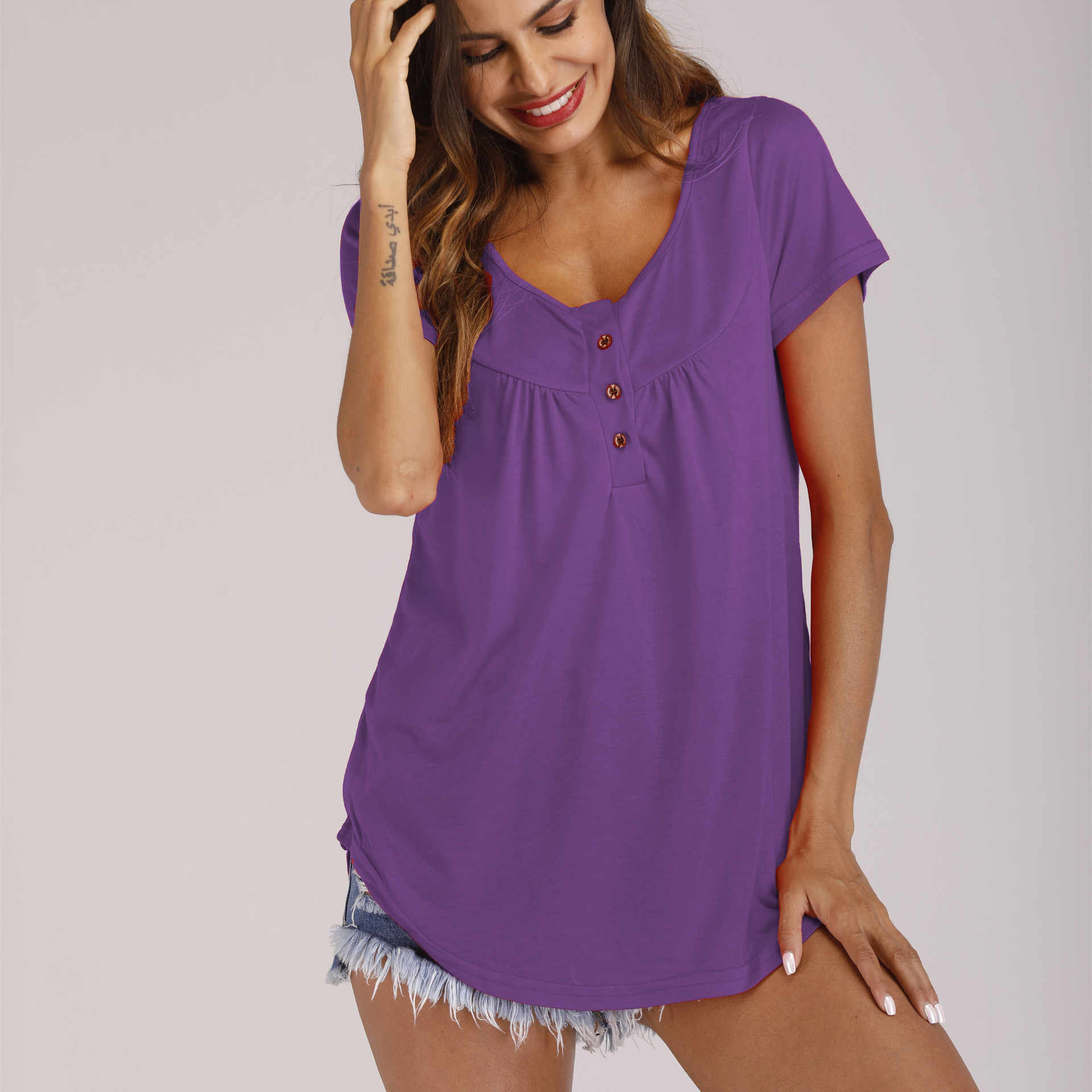 여성 새 여름 캐주얼 탑 셔츠 단추 o-넥 패션 솔리드 컬러 뜨거운 판매 섹시 streetwear tshirts