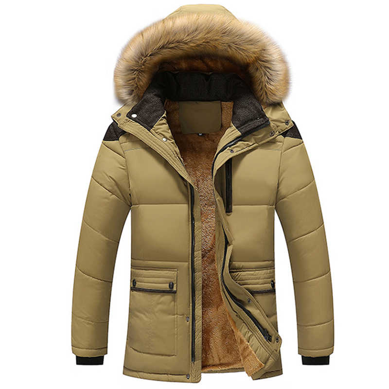 Men Thick Warm Coat Parka Male Muti Color Patchwork Hooded Stand Collar Jackets Pockets Casual Coat Men Outwear Plus Size 5xl
