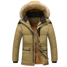 Men Thick Warm Coat Parka Male Muti Color Patchwork Hooded Stand Collar Jackets