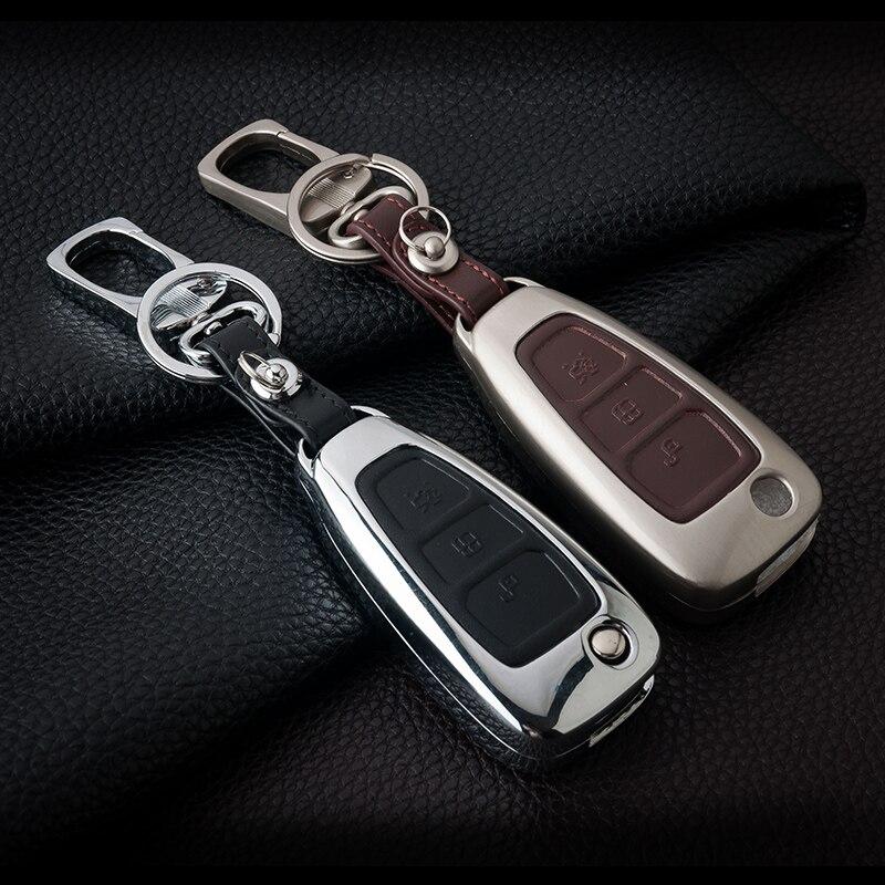 Zink legierung + Leder Auto Fernbedienung Schlüssel Abdeckung Fall Für Ford Focus 2 3 4 ST Mondeo MK3 MK4 Fiesta fusion Kuga 2013 2014 2015 2017 2018