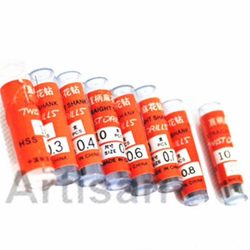 80pcs/lot  0.2 0.3 0.4 0.5 0.6 0.7 0.8 0.9mm Mini HSS M2 Twist Drill Bit Micro Auger Bit For Wood Plastic Metal Drilling
