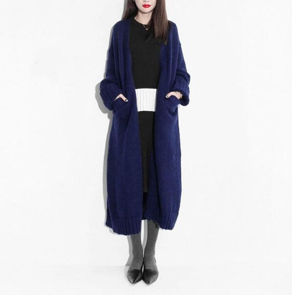 100% Real Cashmere Blend Long Cardigans Fashion Female Handmade ...