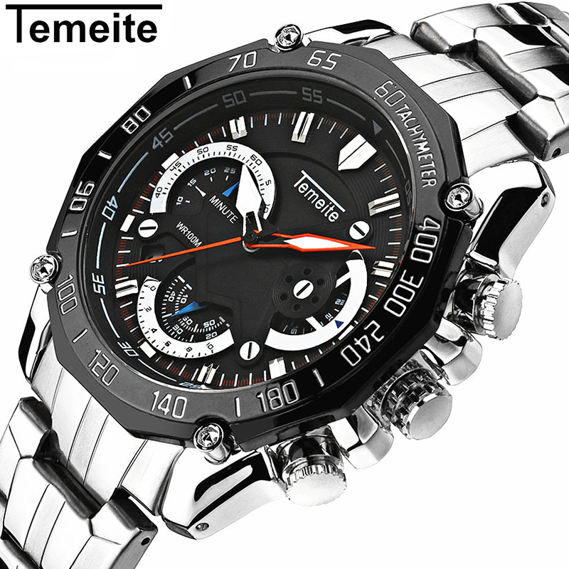 Luxury Top Brand Sport Watch Men Stainless Steel Gold Waterproof Quartz Watches 6 Hands Chronograph Relogio Fashion Male Watches