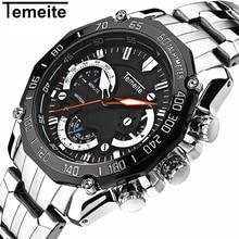 лучшая цена Luxury Top Brand Sport Watch Men Stainless Steel Gold Waterproof Quartz Watches 6 Hands Chronograph Relogio Fashion Male Watches