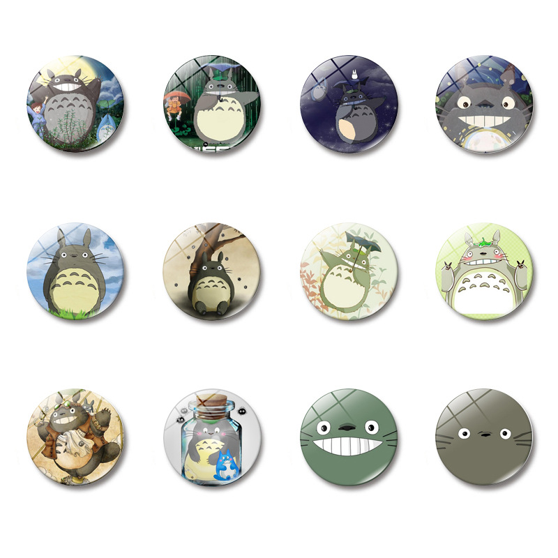 5 pcs Totoro Comic Character set glass Figurine Toy Model Hayao Miyazaki mini action figure Refrigerator stickers Deco for kids image