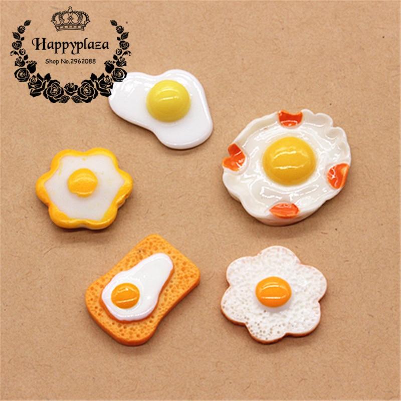 10pcs Kawaii Resin Poached Egg Simulation Miniature Food Art Flatback Cabochon Accessories DIY Craft  Decoration