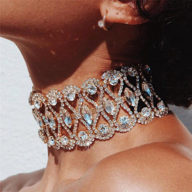 Luxury Gold Plated Rhinestone Crystal Choker Collar Torques Necklace for Women Party Bridal Wedding Jewelry Accessories