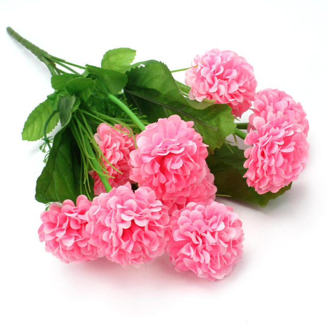 1 bouquet 9 head pink artificial flowers fake hydrangea home party 1 bouquet 9 head pink artificial flowers fake hydrangea home party wedding decoration room floral decor mightylinksfo