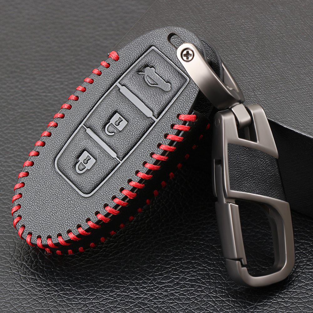 TIANHES Genuine Leather Car Key Chain Suit for Nissan Car Logo Keychain Suit for Nissan Versa Sentra Altima Rogue Murano Frontier Pathfinder Titan Key Chain Keyring Styling Decoration Accessories