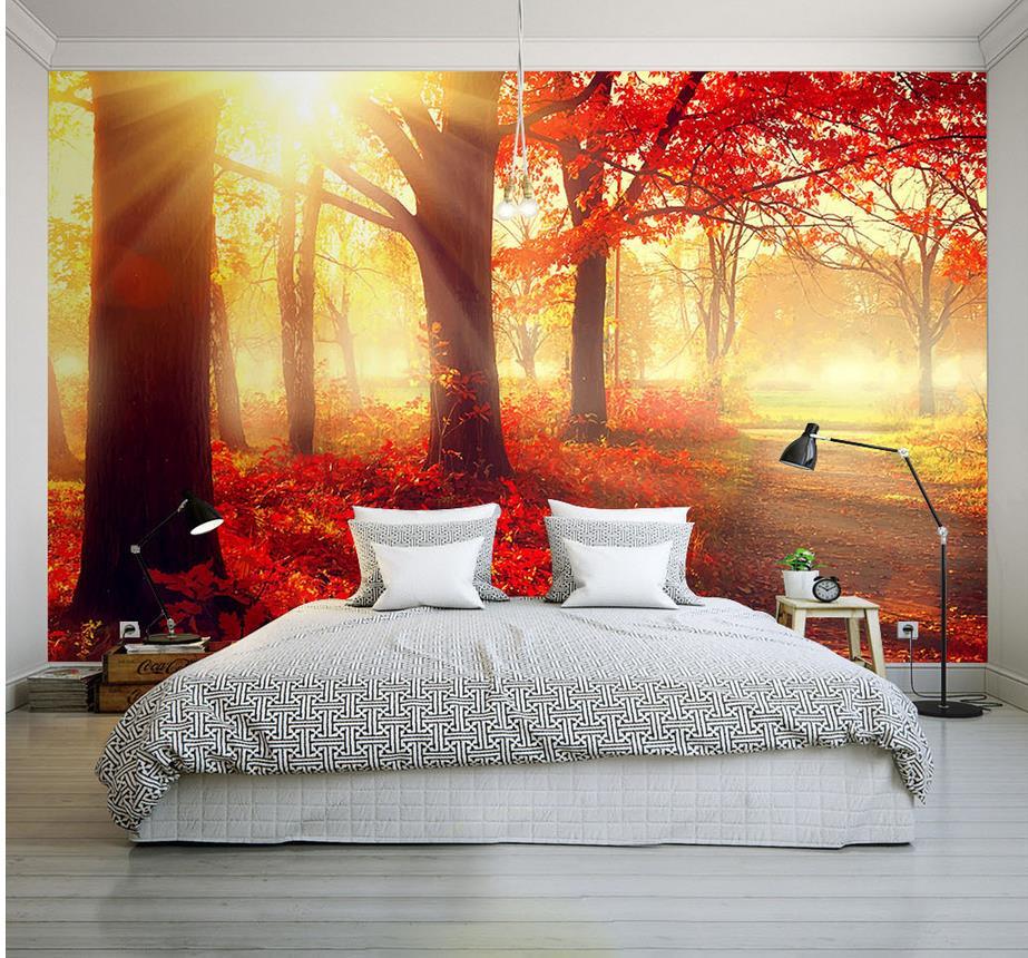 Foto Papel De Parede Para Paredes Modern Folha De Bordo Vermelha Sol  -> Papel De Parede Para Sala Bordo