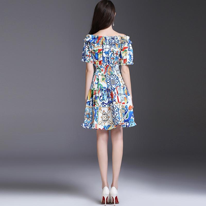 High Quality Runway Dress Spring Summer 2018 New Fashion beautiful ceramic printing elastic defined waist Woman Dresses