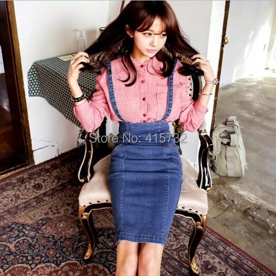 Free Shipping 2017 New Fashion Denim Women Knee Length Skirt Braces Skirt High Waist Pencil Sexy Summer Stretch Suspender Skirt