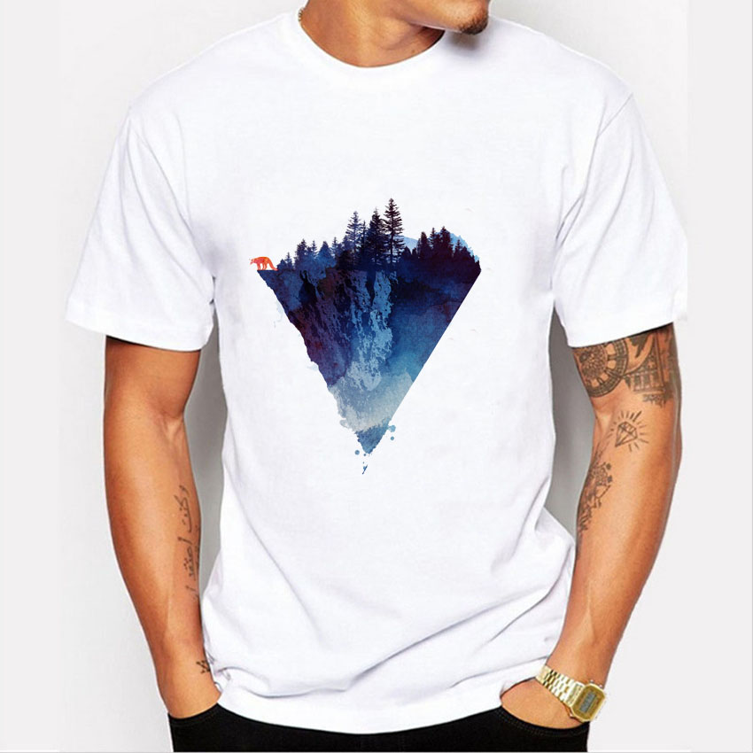 Fashion Iceberg Print T-shirt Men Mountain Design T Shirts Casual Cool Mens Shirts Short Sleeve Trend Clothing