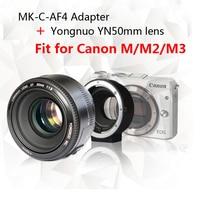 Yongnuo YN50mm F1.8 lens AF/MF Standard Prime Lens + Meike MK C AF4 Meike Electronic Auto Focus Adapter For Canon M M2 M3 Camera