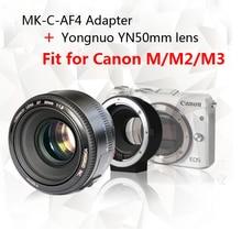 Yongnuo YN50mm F1.8 objectif AF/MF Standard Premier Objectif + Meike MK-C-AF4 Meike Électronique Mise Au Point Automatique Adaptateur Pour Canon M M2 M3 Caméra