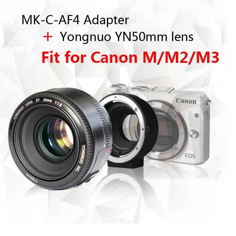 Yongnuo YN50mm F1.8 lens AF/MF Standard Prime Lens + Meike MK-C-AF4 Meike Electronic Auto Focus Adapter For Canon M M2 M3 Camera