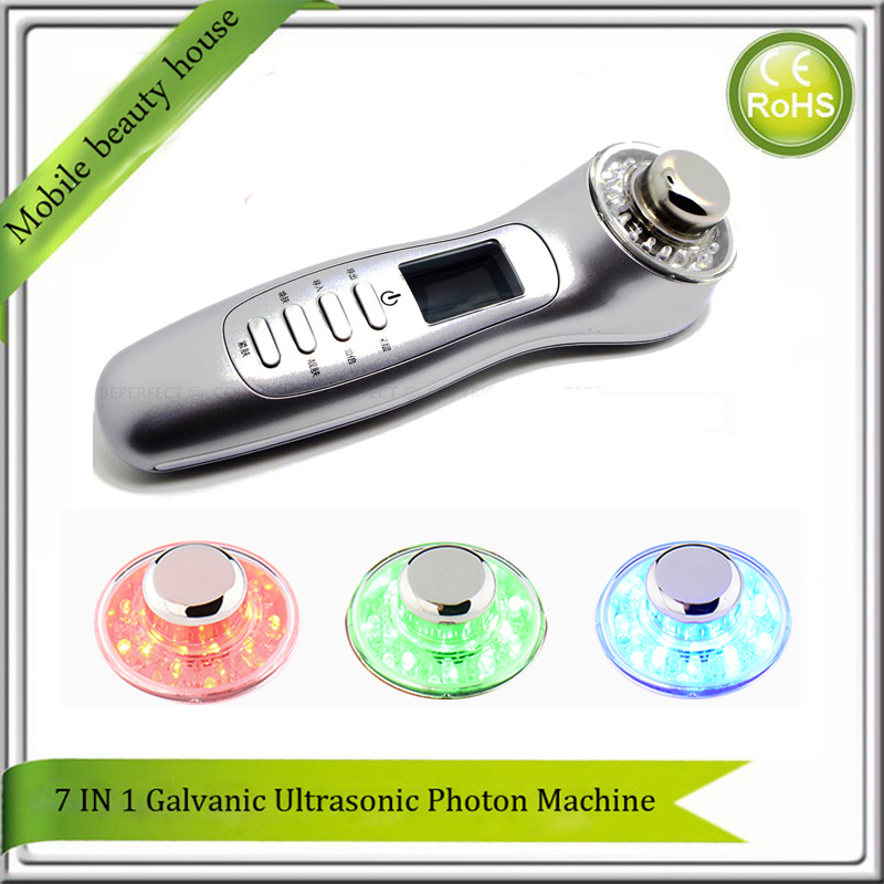 Portable High Frequency Vibration Ultrasonic Galvanic Ion Photon Acne Wrinkle Treatment Facial Skin Massager Machine Home Use portable high frequency ultrasonic galvanic ion led photon skin rejuvenation facial treatment beauty spa