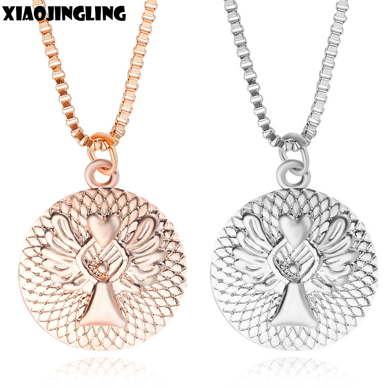 XIAOJINGLING Guardian Angel Gold/Silver Round Pendant Necklace Unisex Party/Birthday Gifts Necklace Trendy Link Chain Necklace