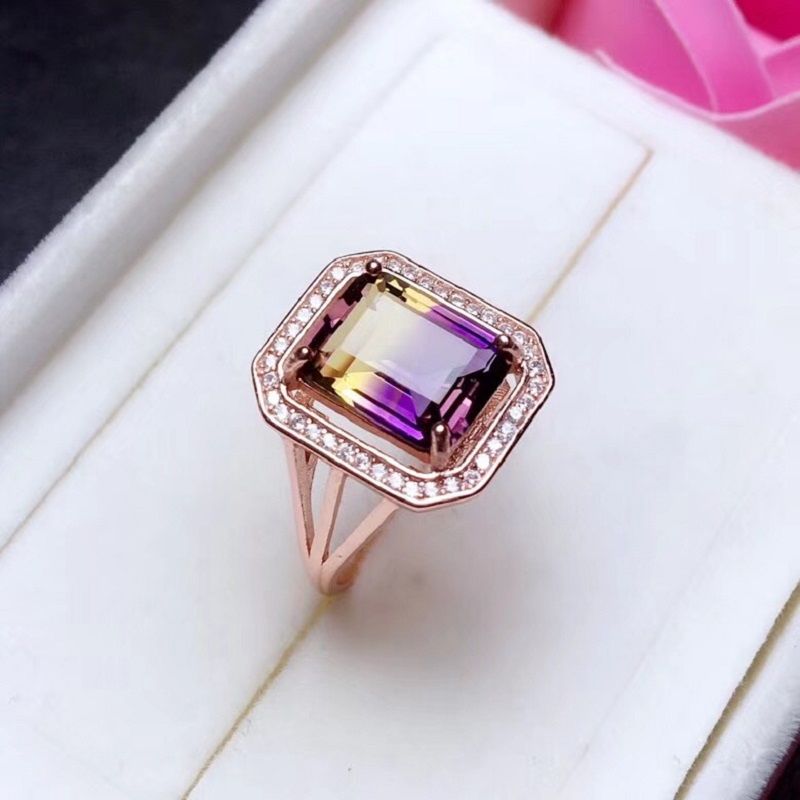 Natural Rectangle Amethyst Gemstone Ring 925 Sterling Silver 8 10mm Birthstone Gift Jewelry Wedding Rings for
