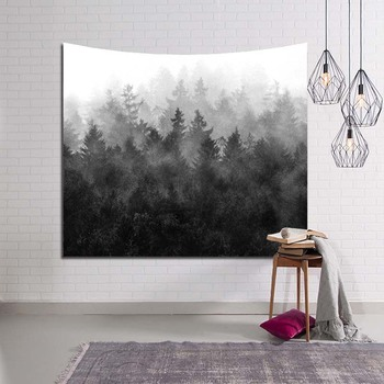 Forest Mountain Wild Plants Tapestries Wall Hanging Ink Painting Picnic Home Decoration Accessories Snow Tree Bedspreads Woven
