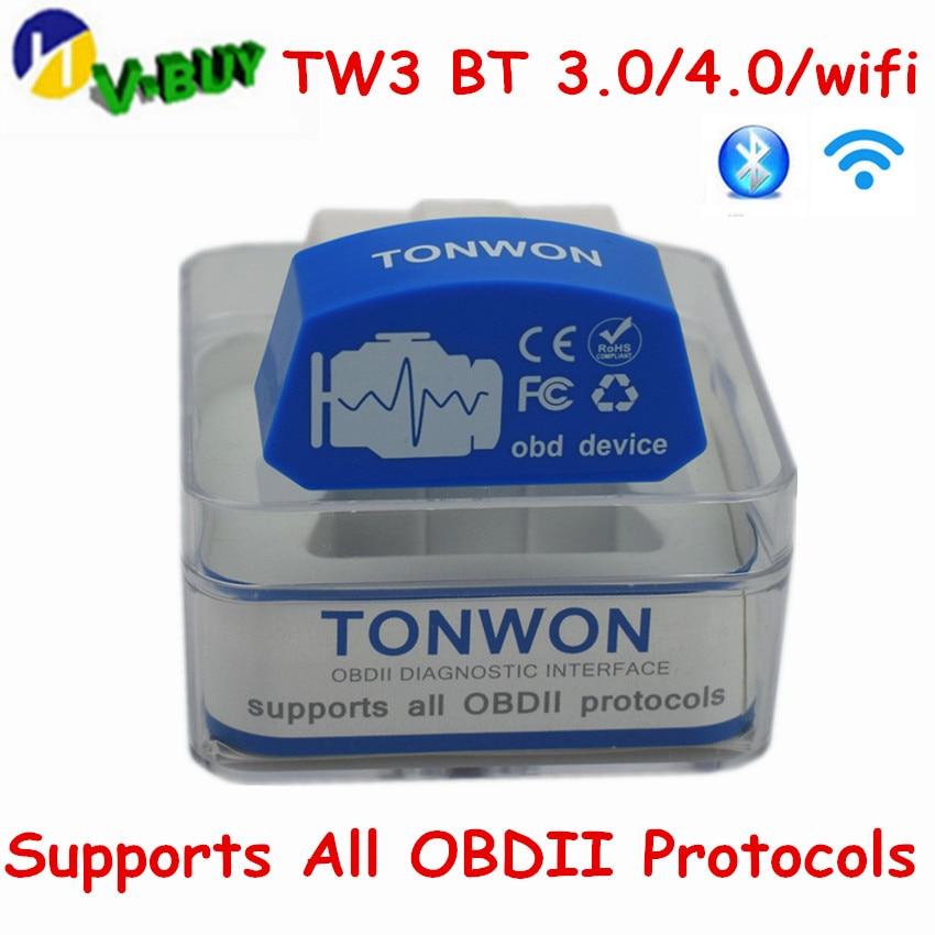 TONWON Pro Bluetooth 4.0 BLE OBD2 ELM327 lector de c/ódigo de fallo de coche para iOS Android