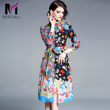 Merchall 2019 New Fashion Runway Floral Dresses Womens Long Sleeve Bow Vintage Printed Vacation Party Midi Dress Vestido
