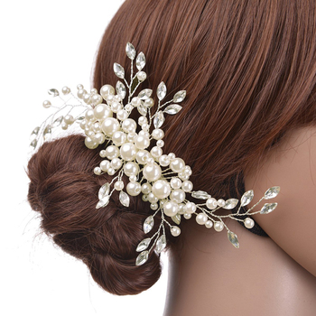 Floral Pearl Wedding Hair Comb Sparkling Silver Plated Crystal Simulated Pearl Bridal Hair Combs Hairpin Jewelry Hair Accessory