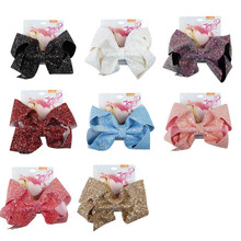 8 Large Sequin  Bow With Hair Clip For Girl Kids Handmade Bling Jumbo Rainbow Knot Hair Bow Hairgrips Hair Accessories цена