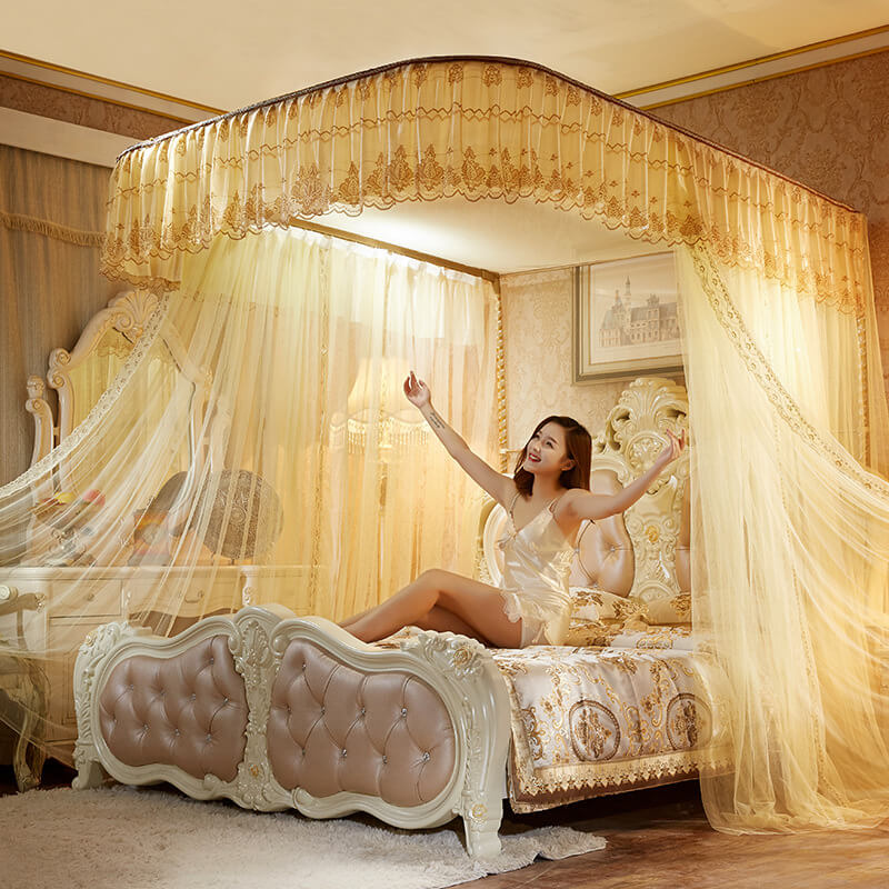 LeRadore Luxury Slide Guide Rail Mosquito Nets for King Queen Full Size Sleeping Curtain 3 Openings for Double Bed FreeShipping