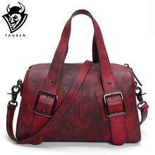 Original Design Genuine Leather Women Handbag Rivet Decoration Totes Cowhide Hand Brush