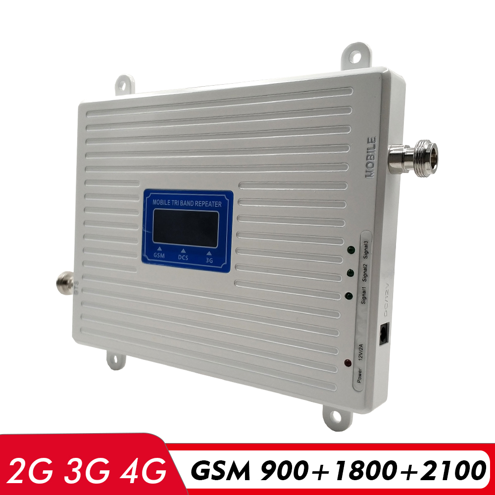 Tri Band Repeater GSM 900+DCS/LTE 1800+WCDMA 2100 Mobiel Signal Booster 2G 3G 4G Network Cellular Signal Amplifier Antenna Kit