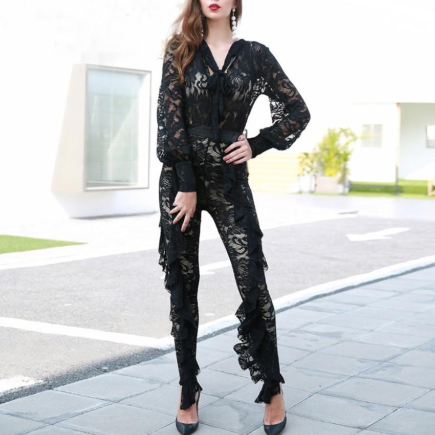 Avec À Fille Col Sexy V Femmes Décontracté Évider Partie Body Vintage Combinaisons De Élégant Longues Nouvelle Mode En blue Manches Black qFIAwfWxC