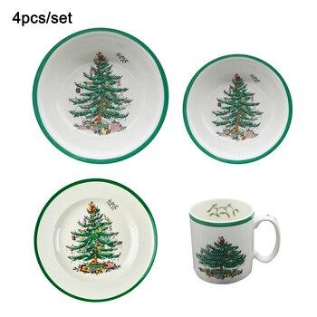 4 Pcs/set Christmas tree Dinnerware Set Western Cutlery Kitchen Food Tableware Dinner Set Christmas Gift Drop shipping