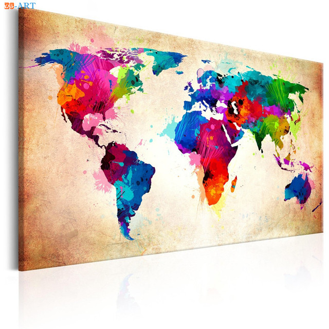Colourful World Map Canvas Painting Abstract Posters and Prints