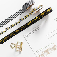 Dokibook Homemade Black Series Foil Washi Tape Black Tape Notebook Planner Stickers Decoration Stationery Store School