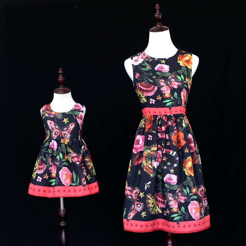 Mother Daughter Dresses Slim Bodycon Dress Mommy and Me Clothes Family Look Mom and Daughter Dress