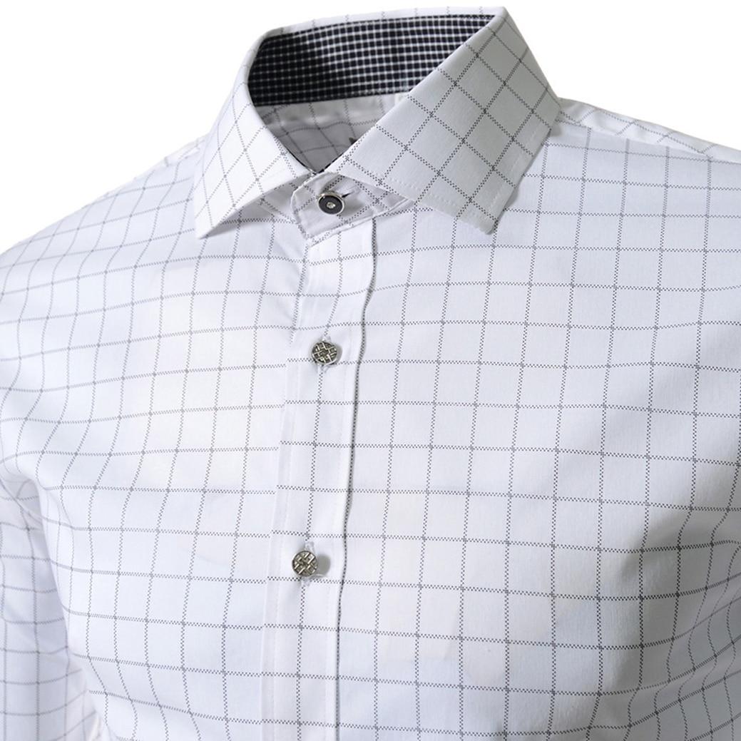 Мода печати плед сорочки для мужчин slim fit случайные рубашку с длинными рукавами горячий продавать белый
